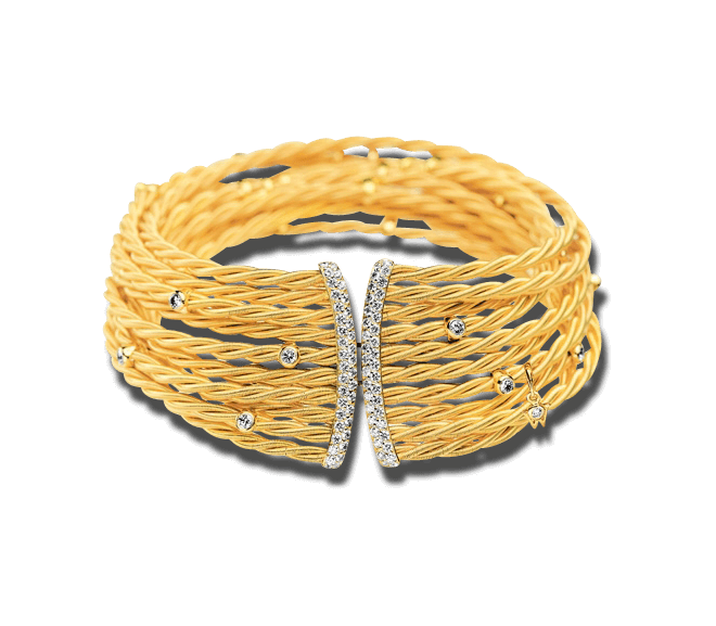 Armband Wellendorff Maxi Brillantspiel aus 750 Gelbgold mit mehreren Brillanten (1,63 Karat)