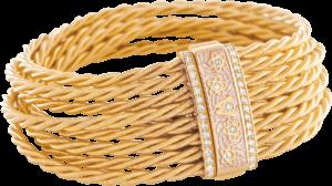 Armband Wellendorff Seidenspiel aus 750 Gelbgold mit mehreren Brillanten (0,38 Karat)
