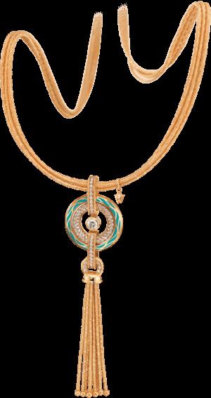 Amulett Wellendorff Wahres Glück Aqua aus 750 Gelbgold und Emaille mit mehreren Brillanten (1,24 Karat)