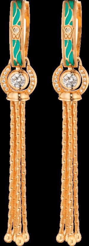 Ohrhänger Wellendorff Wahres Glück Aqua aus 750 Gelbgold und Wellendorff-Kaltemaille mit mehreren Brillanten (2 x 0,3 Karat)