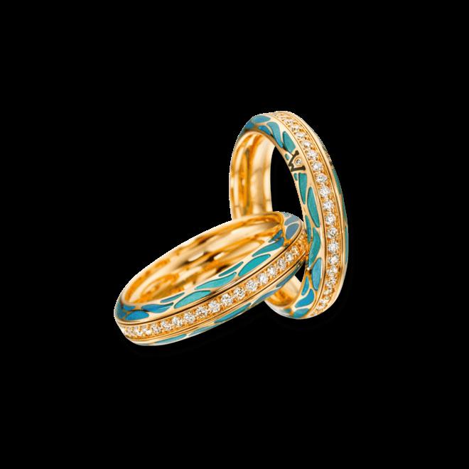 Ring Wellendorff Wahres Glück Aqua aus 750 Gelbgold und Wellendorff-Kaltemaille mit mehreren Brillanten (0,45 Karat) bei Brogle