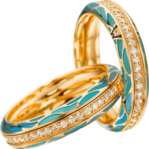 Ring Wellendorff Wahres Glück Aqua aus 750 Gelbgold und Wellendorff-Kaltemaille mit mehreren Brillanten (0,45 Karat)