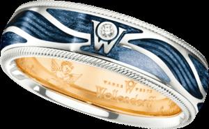 Ring Wellendorff Wahres Glück Engelskraft aus 750 Weißgold und Wellendorff-Kaltemaille mit 1 Brillant (0,017 Karat)