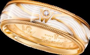 Ring Wellendorff Wahres Glück Engelsschimmer aus 750 Gelbgold und Wellendorff-Kaltemaille mit 1 Brillant (0,017 Karat)