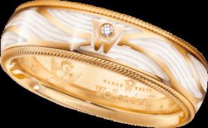 Ring Wellendorff Wahres Glück Engelsschimmer aus 750 Gelbgold und Emaille mit 1 Brillant (0,017 Karat)