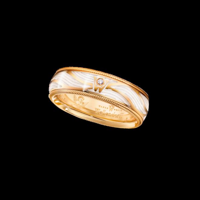 Ring Wellendorff Wahres Glück Engelsschimmer aus 750 Gelbgold und Wellendorff-Kaltemaille mit 1 Brillant (0,017 Karat) bei Brogle