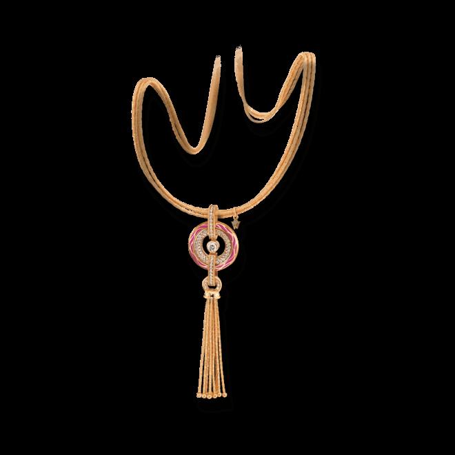 Amulett Wellendorff Wahres Glück Granat aus 750 Gelbgold und Emaille mit mehreren Brillanten (1,24 Karat)