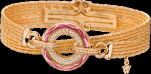 Armband mit Anhänger Wellendorff Wahres Glück Granat aus 750 Gelbgold und Wellendorff-Kaltemaille mit mehreren Brillanten (0,85 Karat)