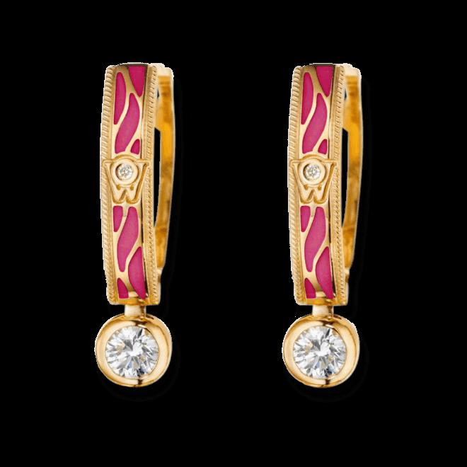 Ohrhänger Wellendorff Wahres Glück Granat aus 750 Gelbgold und Emaille mit mehreren Brillanten (2 x 0,3 Karat)