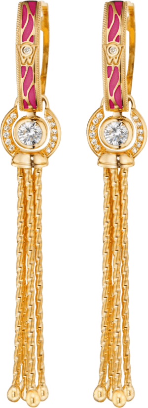 Ohrhänger Wellendorff Wahres Glück Granat aus 750 Gelbgold und Wellendorff-Kaltemaille mit mehreren Brillanten (2 x 0,3 Karat)