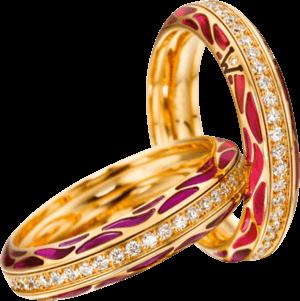 Ring Wellendorff Wahres Glück Granat aus 750 Gelbgold und Wellendorff-Kaltemaille mit mehreren Brillanten (0,45 Karat)