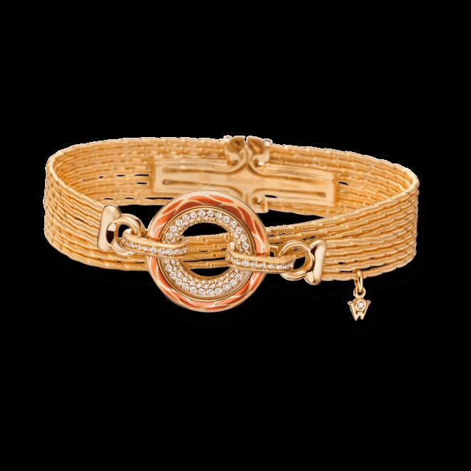 Armband mit Anhänger Wellendorff Wahres Glück Koralle aus 750 Gelbgold und Emaille mit mehreren Brillanten (0,85 Karat)