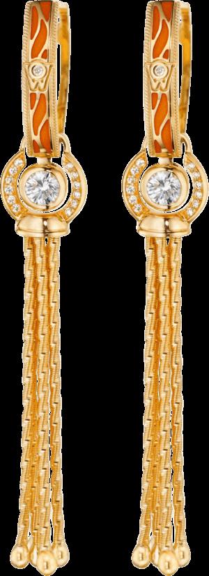 Ohrhänger Wellendorff Wahres Glück Koralle aus 750 Gelbgold und Wellendorff-Kaltemaille mit mehreren Brillanten (2 x 0,3 Karat)