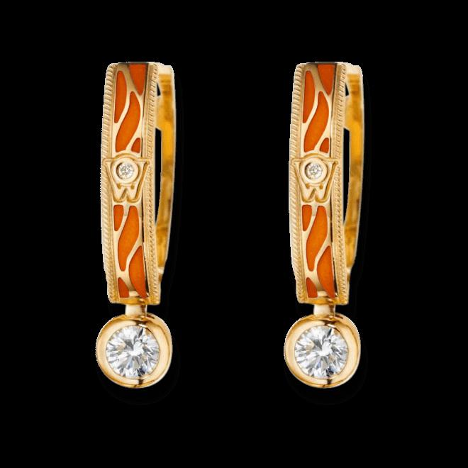 Ohrhänger Wellendorff Wahres Glück Koralle aus 750 Gelbgold und Emaille mit mehreren Brillanten (2 x 0,3 Karat)