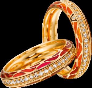 Ring Wellendorff Wahres Glück Koralle aus 750 Gelbgold und Emaille mit mehreren Brillanten (0,45 Karat)