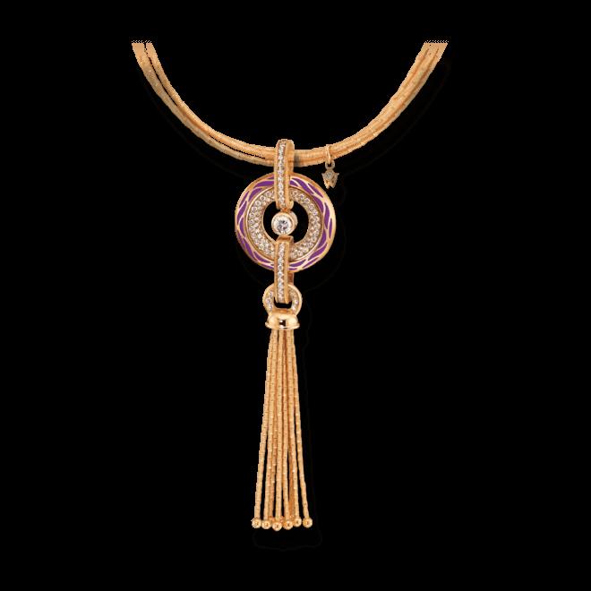 Amulett Wellendorff Wahres Glück Lavendel aus 750 Gelbgold und Emaille mit mehreren Brillanten (1,24 Karat)