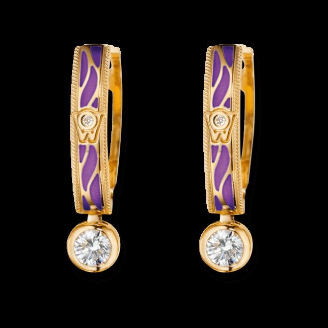 Ohrhänger Wellendorff Wahres Glück Lavendel aus 750 Gelbgold und Emaille mit mehreren Brillanten (2 x 0,3 Karat)