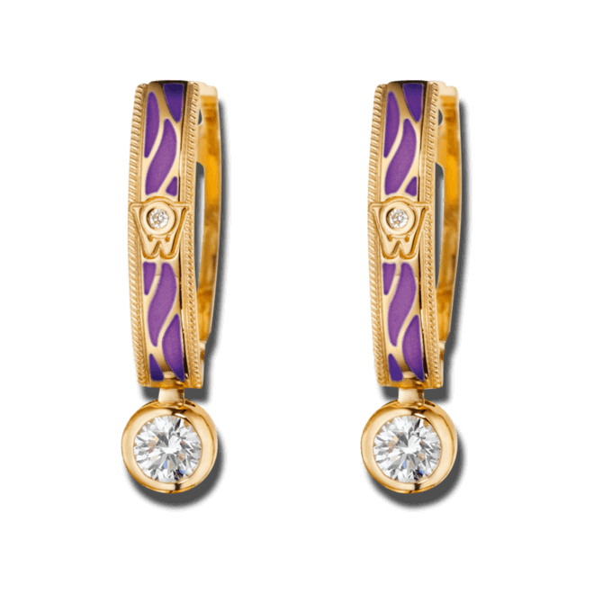 Ohrhänger Wellendorff Wahres Glück Lavendel aus 750 Gelbgold und Wellendorff-Kaltemaille mit mehreren Brillanten (2 x 0,3 Karat) bei Brogle