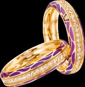 Ring Wellendorff Wahres Glück Lavendel aus 750 Gelbgold und Wellendorff-Kaltemaille mit mehreren Brillanten (0,45 Karat)