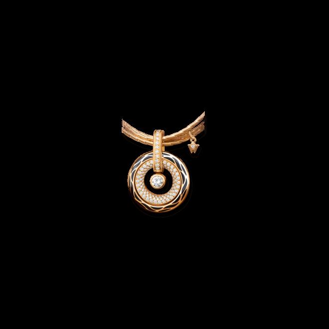 Amulett Wellendorff Wahres Glück Onyx aus 750 Gelbgold und Wellendorff-Kaltemaille mit mehreren Brillanten (1,24 Karat) bei Brogle