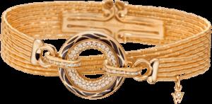 Armband mit Anhänger Wellendorff Wahres Glück Onyx aus 750 Gelbgold und Wellendorff-Kaltemaille mit mehreren Brillanten (0,85 Karat)