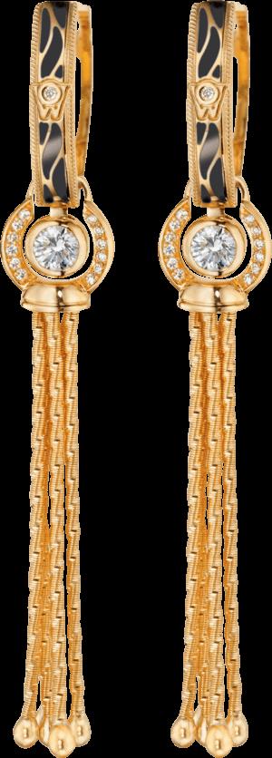 Ohrhänger Wellendorff Wahres Glück Onyx aus 750 Gelbgold und Wellendorff-Kaltemaille mit mehreren Brillanten (2 x 0,3 Karat)