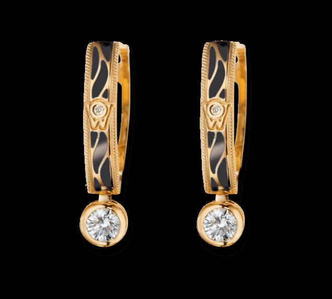 Ohrhänger Wellendorff Wahres Glück Onyx aus 750 Gelbgold und Emaille mit mehreren Brillanten (2 x 0,3 Karat)