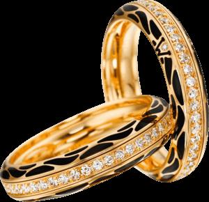 Ring Wellendorff Wahres Glück Onyx aus 750 Gelbgold und Wellendorff-Kaltemaille mit mehreren Brillanten (0,45 Karat)