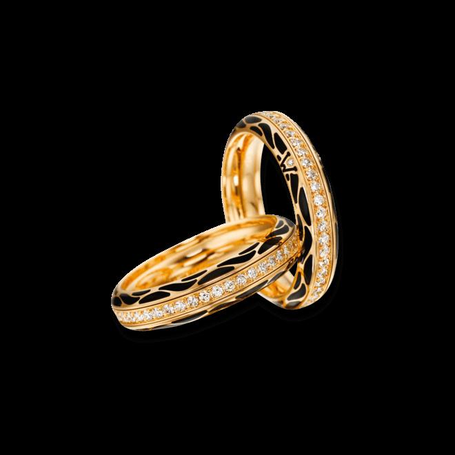 Ring Wellendorff Wahres Glück Onyx aus 750 Gelbgold und Emaille mit mehreren Brillanten (0,45 Karat)