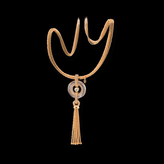 Amulett Wellendorff Wahres Glück Ozean aus 750 Gelbgold und Emaille mit mehreren Brillanten (1,24 Karat)