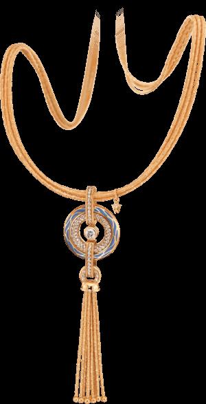 Amulett Wellendorff Wahres Glück Ozean aus 750 Gelbgold und Wellendorff-Kaltemaille mit mehreren Brillanten (1,24 Karat)