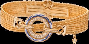 Armband mit Anhänger Wellendorff Wahres Glück Ozean aus 750 Gelbgold und Wellendorff-Kaltemaille mit mehreren Brillanten (0,85 Karat)
