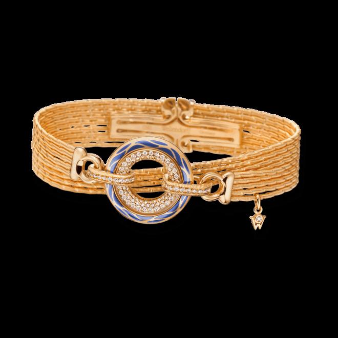 Armband mit Anhänger Wellendorff Wahres Glück Ozean aus 750 Gelbgold und Wellendorff-Kaltemaille mit mehreren Brillanten (0,85 Karat) bei Brogle
