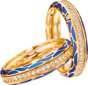 Ring Wellendorff Wahres Glück Ozean aus 750 Gelbgold und Emaille mit mehreren Brillanten (0,45 Karat)