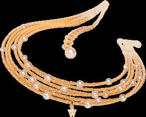 Collier Wellendorff Perlglück aus 750 Gelbgold mit mehreren Akoya-Perlen und mehreren Brillanten (0,017 Karat)