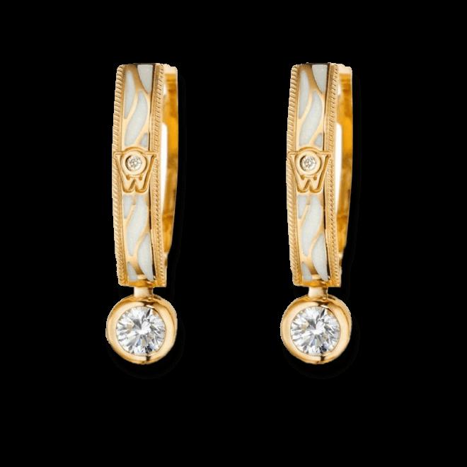 Ohrhänger Wellendorff Wahres Glück Perlmutt aus 750 Gelbgold und Emaille mit mehreren Brillanten (2 x 0,3 Karat)