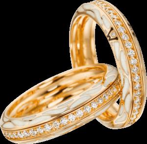 Ring Wellendorff Wahres Glück Perlmutt aus 750 Gelbgold und Emaille mit mehreren Brillanten (0,45 Karat)