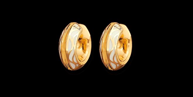 Creole Wellendorff Pures Glück Granat aus 750 Gelbgold und Emaille mit mehreren Brillanten (2 x 0,145 Karat)