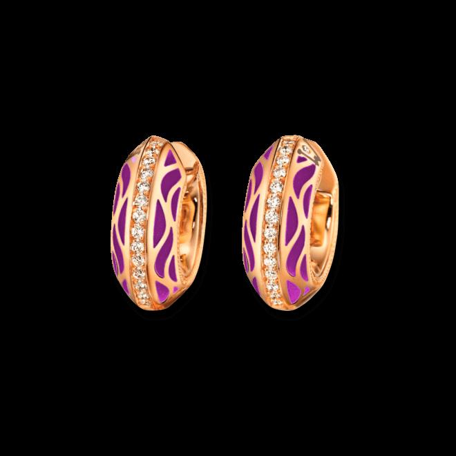 Creole Wellendorff Pures Glück Lavendel aus 750 Gelbgold und Emaille mit mehreren Brillanten (2 x 0,145 Karat)