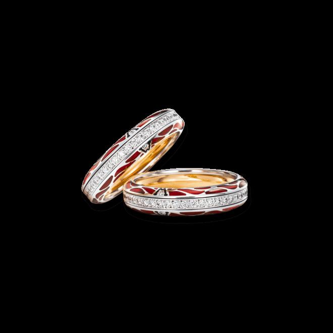 Ring Wellendorff Wahres Glück Rubin aus 750 Weißgold und Wellendorff-Kaltemaille mit mehreren Brillanten (0,474 Karat) bei Brogle