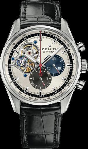 Herrenuhr Zenith Chronomaster El Primero Open Heart 42mm mit silberfarbenem Zifferblatt und Alligatorenleder-Armband