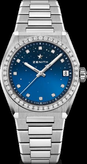 Damenuhr Zenith Defy Classic Midnight 36mm mit Diamanten und Edelstahlarmband