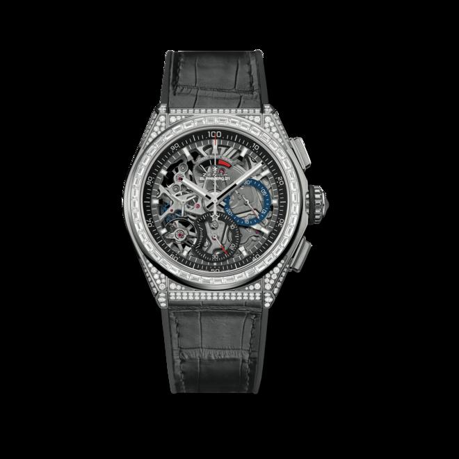 Herrenuhr Zenith Defy El Primero 21 Chrono 44mm mit Diamanten und Alligatorenleder-Armband bei Brogle