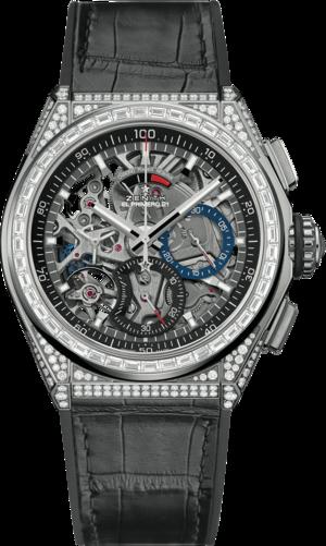 Herrenuhr Zenith Defy El Primero 21 Chrono 44mm mit Diamanten und Alligatorenleder-Armband
