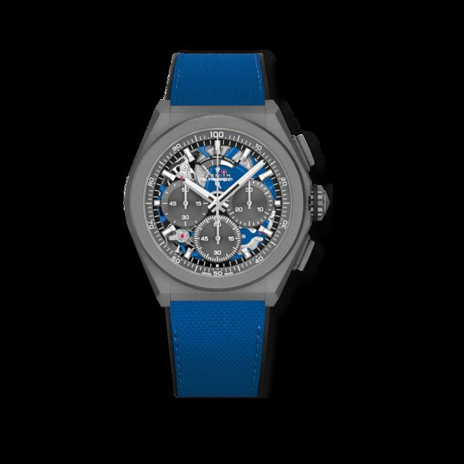 Herrenuhr Zenith Defy El Primero 21 Ultrablau mit grauem Zifferblatt und Kautschukarmband bei Brogle