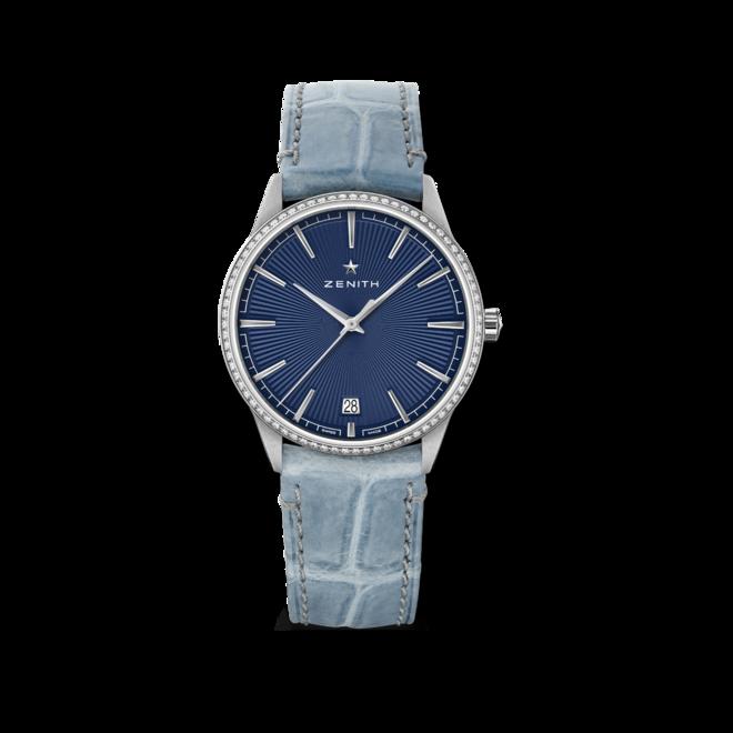 Damenuhr Zenith Elite Classic 36mm mit Diamanten, blauem Zifferblatt und Alligatorenleder-Armband bei Brogle