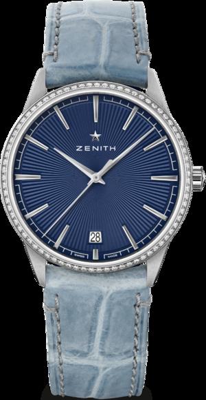 Damenuhr Zenith Elite Classic 36mm mit Diamanten, blauem Zifferblatt und Alligatorenleder-Armband