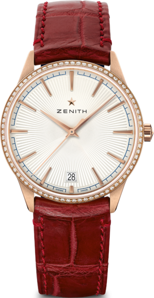 Damenuhr Zenith Elite Classic 36mm mit Diamanten, silberfarbenem Zifferblatt und Alligatorenleder-Armband