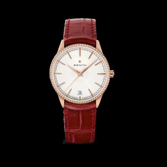 Damenuhr Zenith Elite Classic 36mm mit Diamanten, silberfarbenem Zifferblatt und Alligatorenleder-Armband bei Brogle