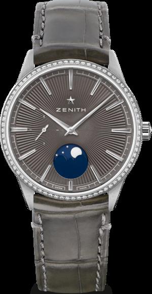 Damenuhr Zenith Elite Moonphase 36mm mit Diamanten und Alligatorenleder-Armband